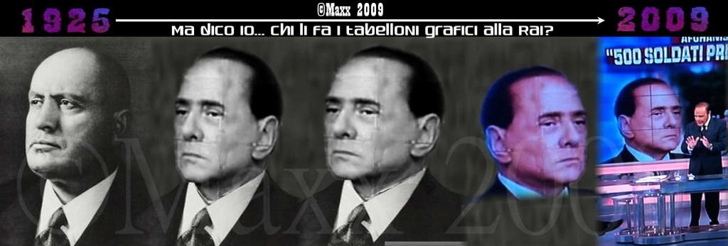 Piccolo fotomontaggio dove esalto l'assurda somiglianza della postura tra i 2 personaggi politici, Berlusconi e Mussolini